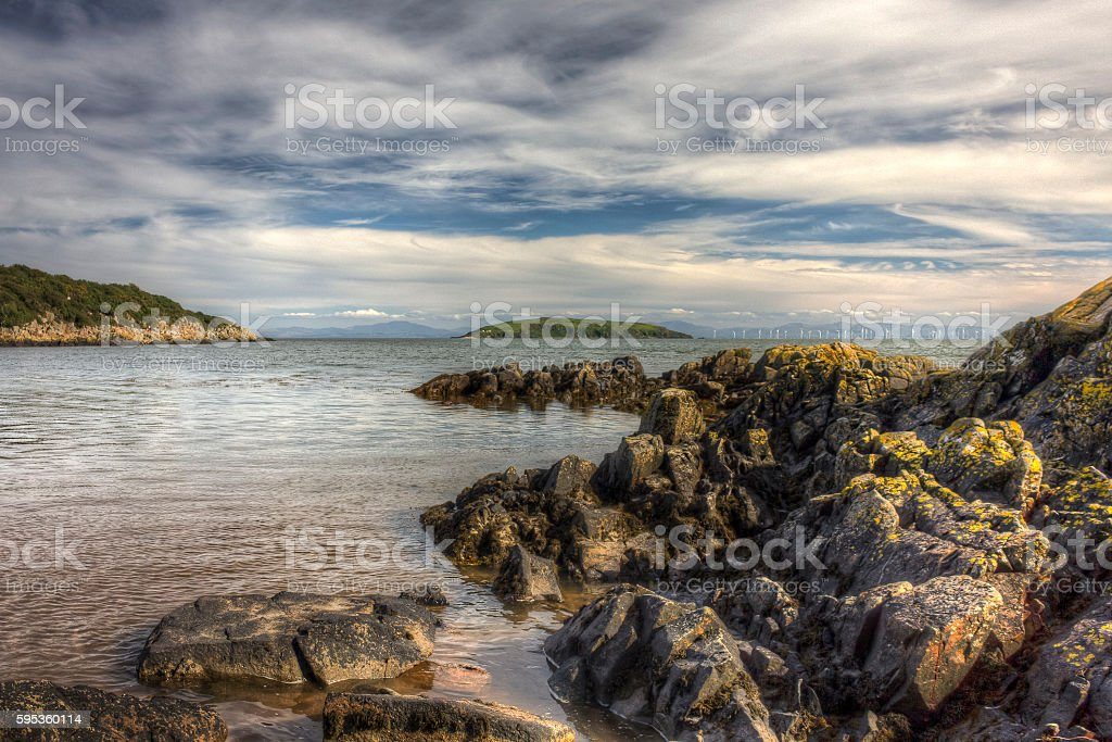 Heston Island from Red Haven near Auchencairn HDR stock photo