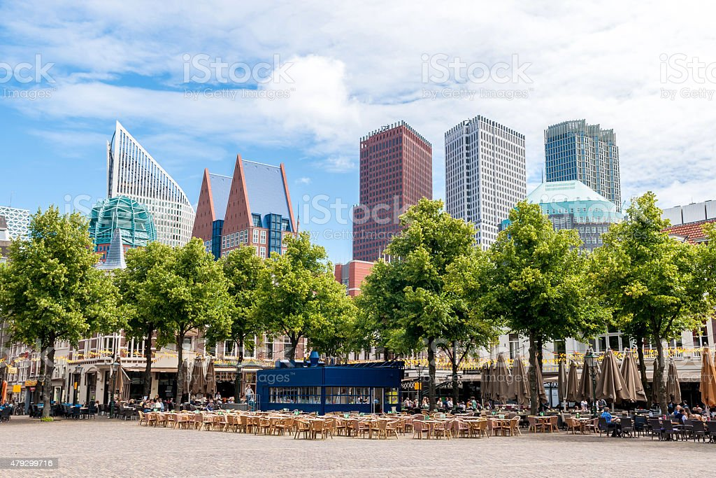 Het Plein - the large square in The Hague stock photo