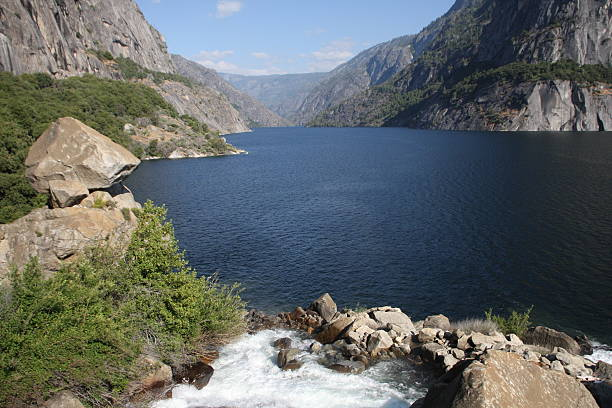 Hetch Hetchy Reservoir in Yosemite stock photo