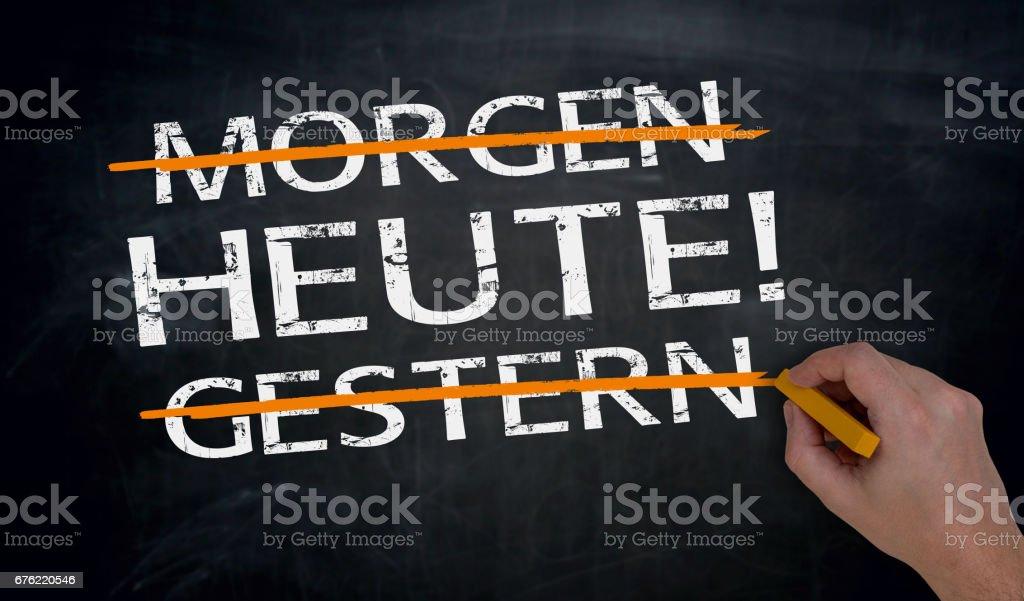Heute, Morgen, Gestern (in german) Today, tomorow, yesterday is written by hand on blackboard. stock photo