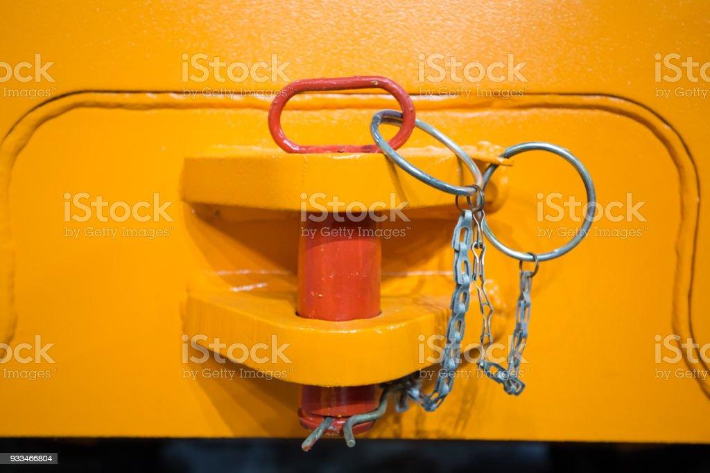 Hevy duty machinery hitch stock photo