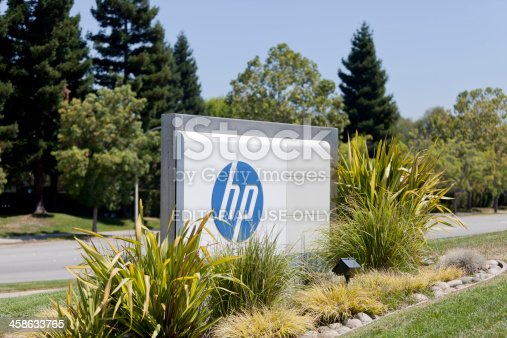 Palo Alto, California, USA - August 30, 2011: Headquarters of Hewlett-Packard, located at 3100 Page Mill Rd. HP as it's also known was founded in 1947 by Bill Hewlett and Dave Packard and currently make a wide array of electronics products.