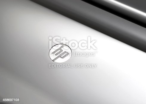 Vancouver, Canada -- August 7, 2011:Close up of the Hewlett-Packard logo on a printer.  HP is an American information technology company.
