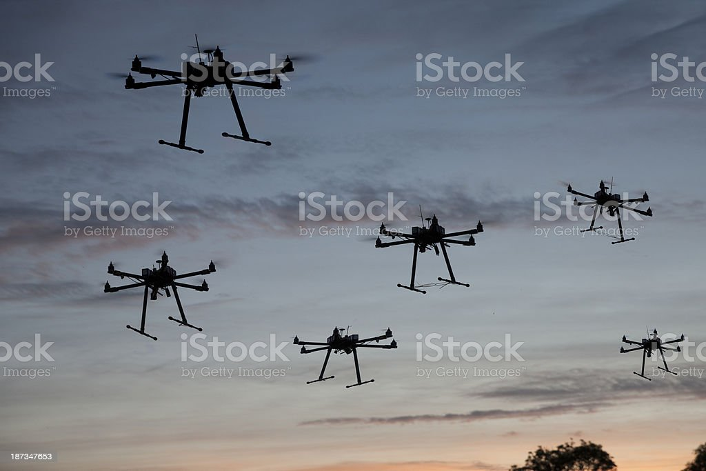 hexacopter drones flying royalty-free stock photo