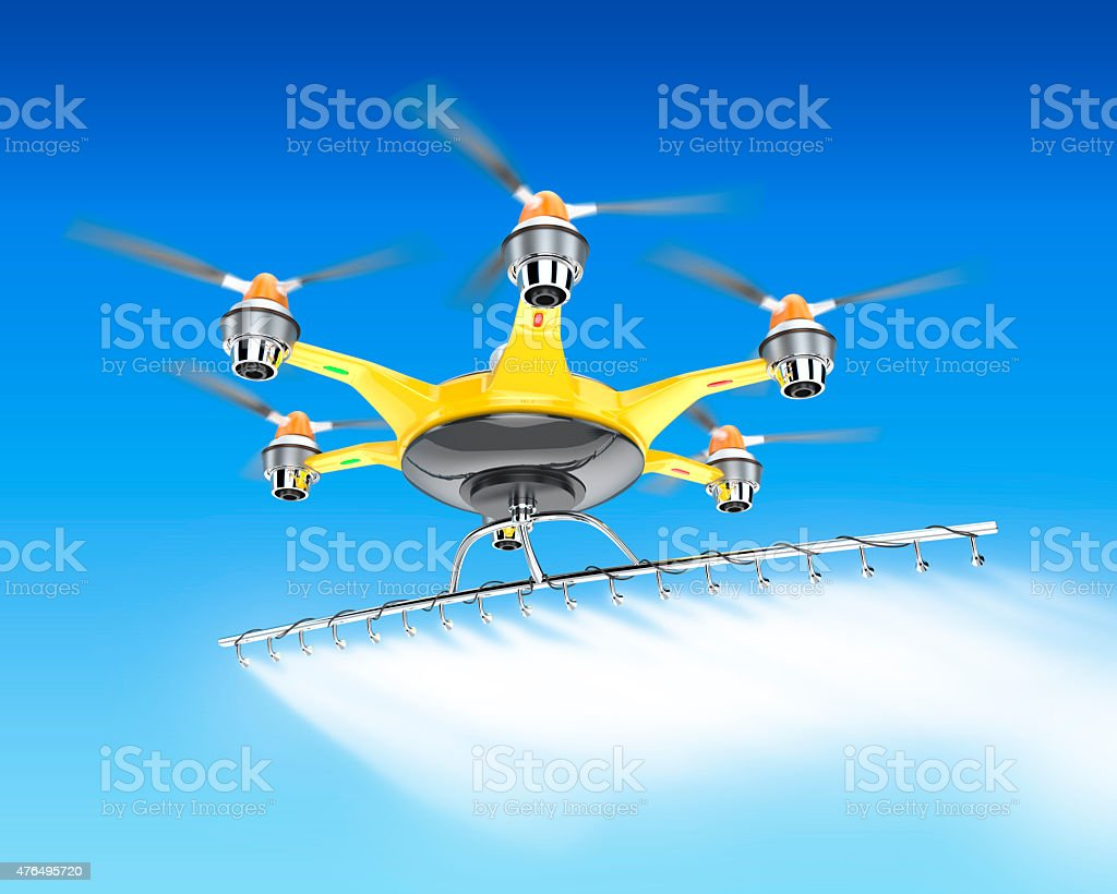 Hexacopter with crop sprayer flying in the sky stock photo
