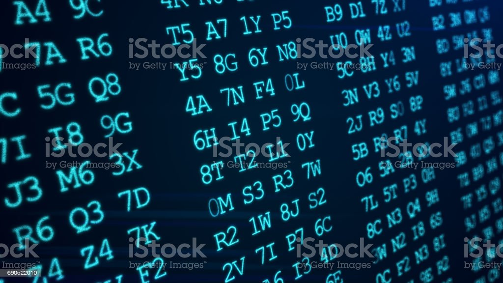 Hexadecimal abstract green code running up a computer screen. stock photo
