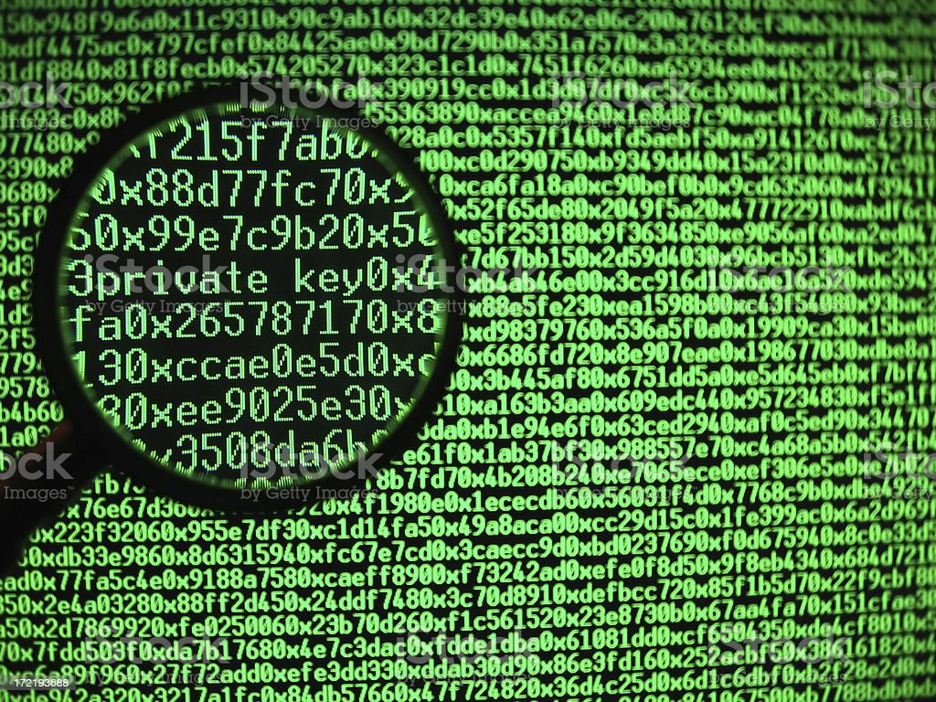 Hexadecimal code(private key) royalty-free stock photo