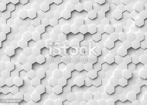 white, hexagon, 3d rendering, background, pattern