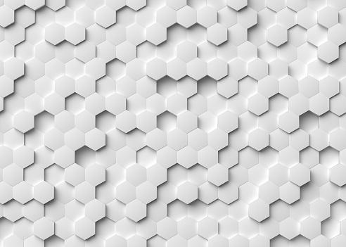 white, hexagon, 3d rendering, background, pattern