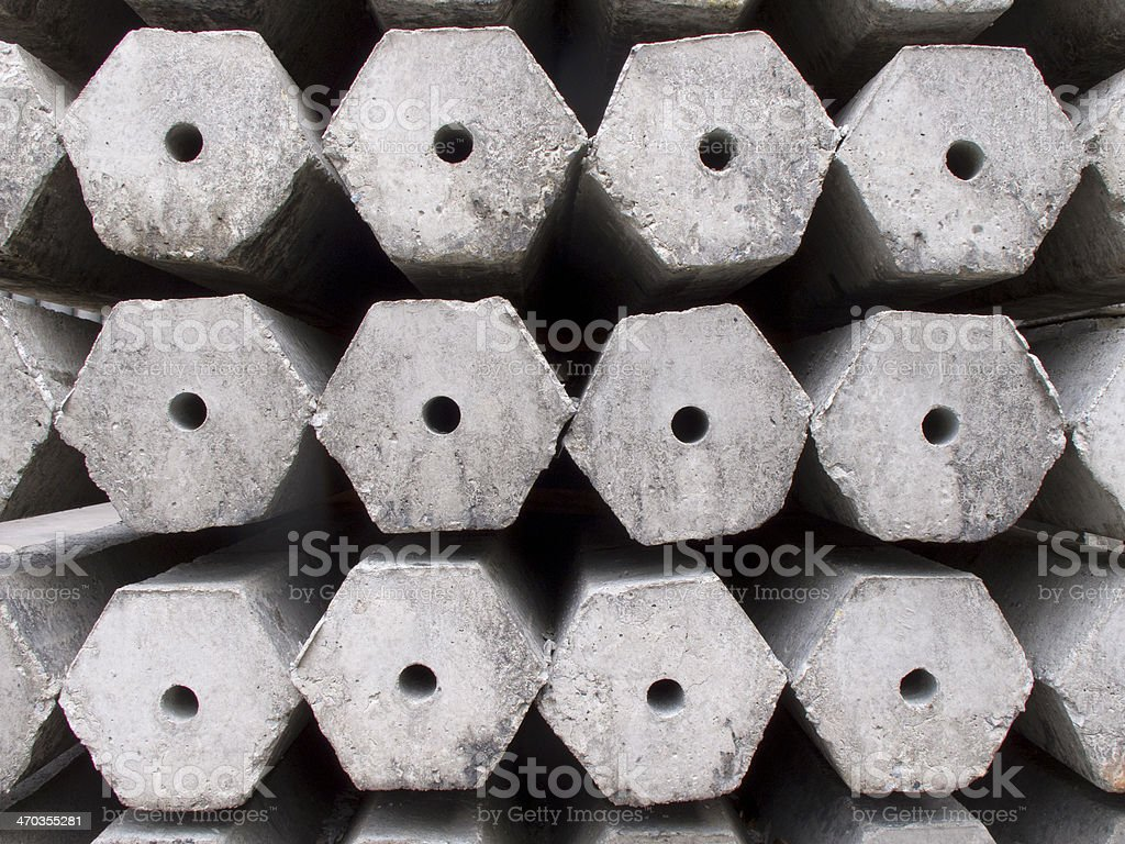 Hexagon concrete pillar stock photo