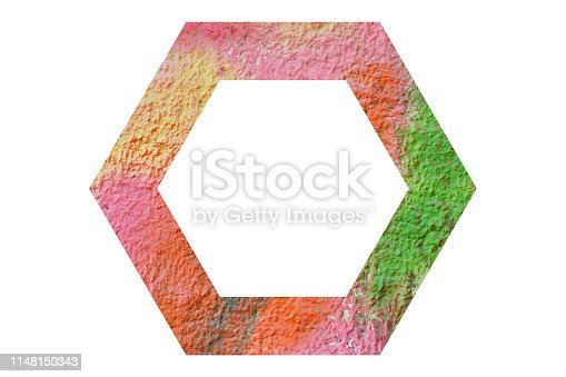 istock hexagon frame with on white background 1148150343