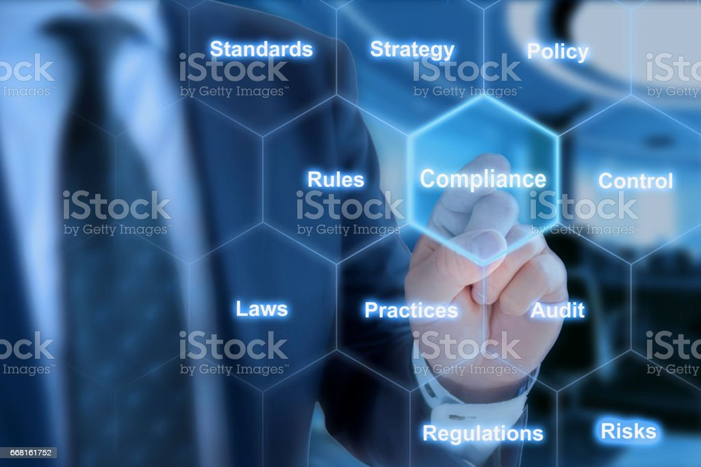 Hexagon grid compliance click from businessman stock photo