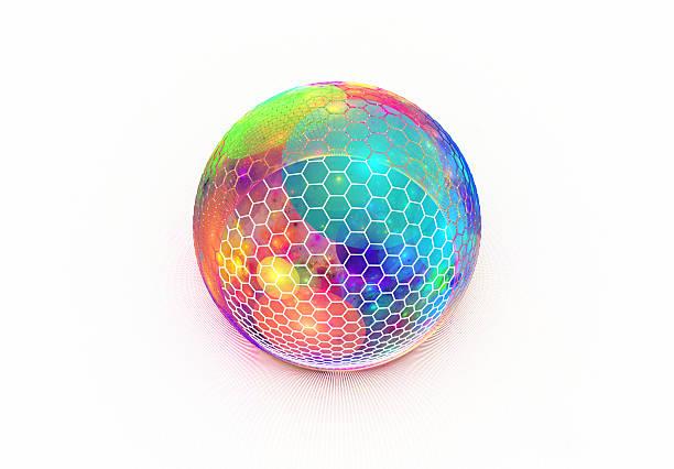 Hexagon grid on multi colored sphere stock photo