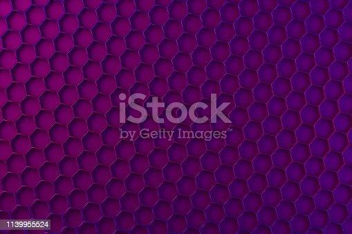 1003112132 istock photo Hexagon, Honeycomb Abstract Neon Colors 3D Background 1139955524
