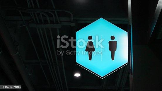 1140718043 istock photo Hexagon lightbox restroom signage hang on wall 1197607586