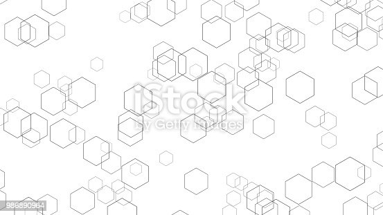 istock Hexagon lines on white background in futuristic technology concept. Abstract geometry shape. 3d illustration 986890964