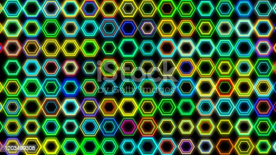 Hexagon neon light flash background. Futuristic 3D geometric shape rainbow colorful laser light stage background