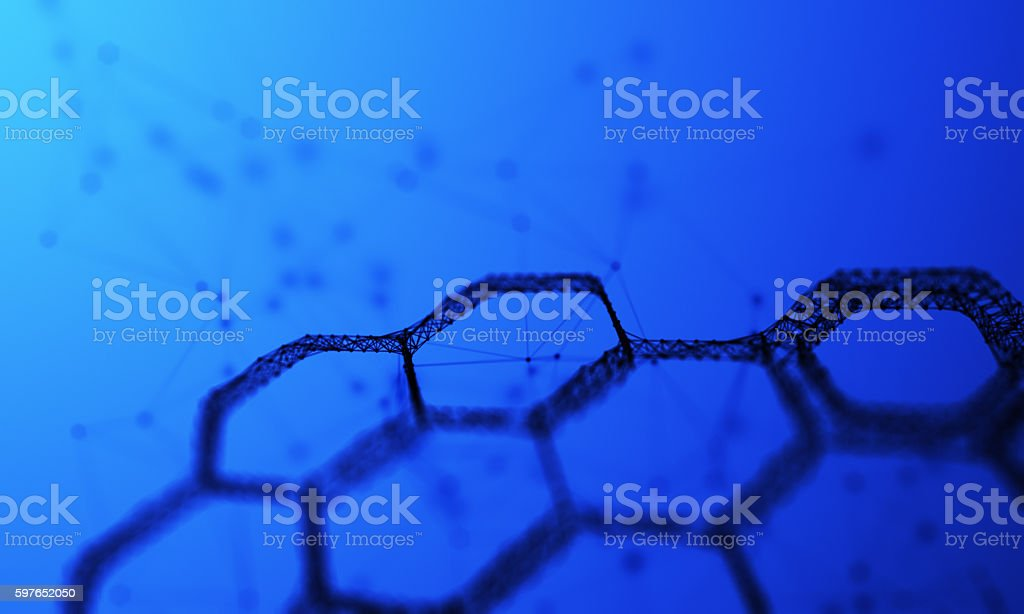 Hexagon network stock photo