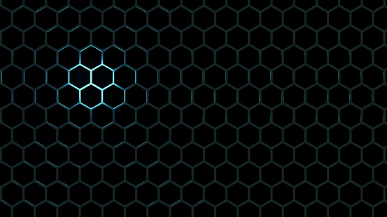 hexagon pattern of solid metal wall background black color with blue light trendy neon
