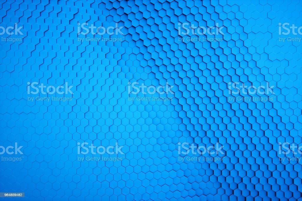 Sechseck Formen bilden eine 3D-Struktur blau einfarbig – Foto