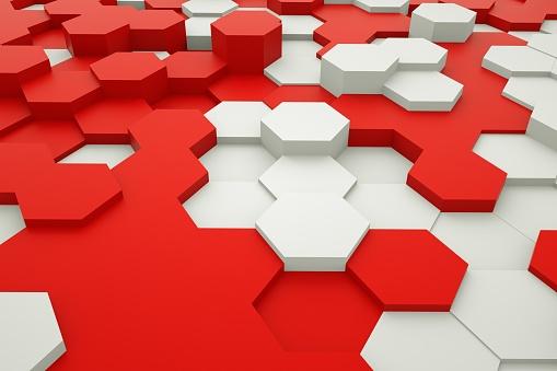 486421008 istock photo Hexagonal abstract 3d background 1187548807