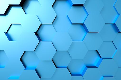 486421008 istock photo Hexagonal abstract 3d background 1187550564