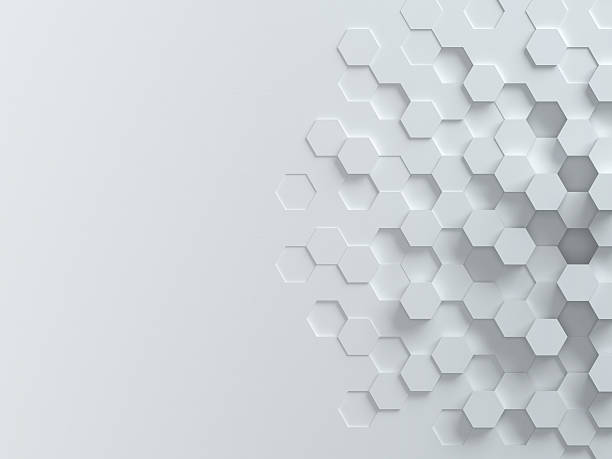 hexagonal abstract 3d background - geometry stock photos and pictures