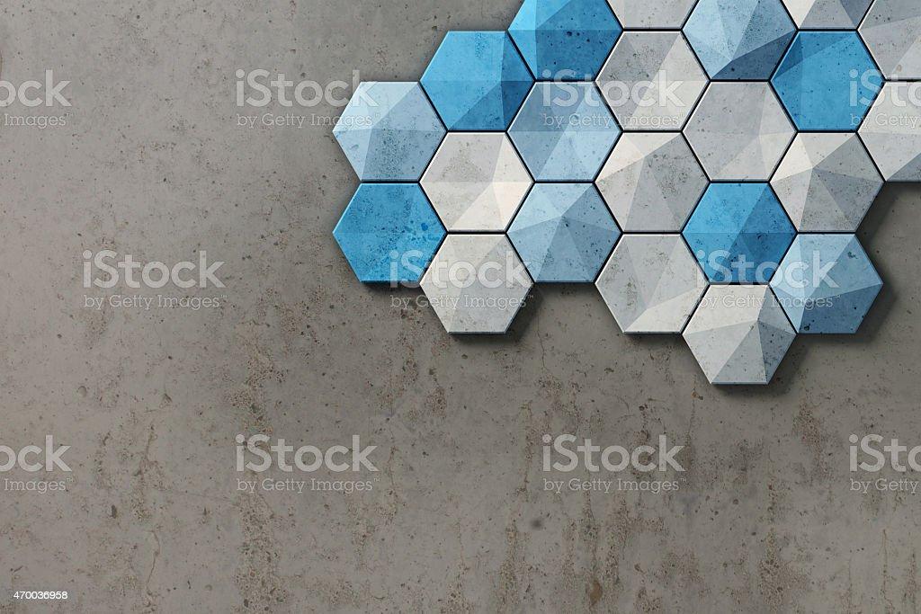 Piastrelle Esagonali Bianche : Esagonale piastrelle bianche e blu su sfondo di cemento motivo a