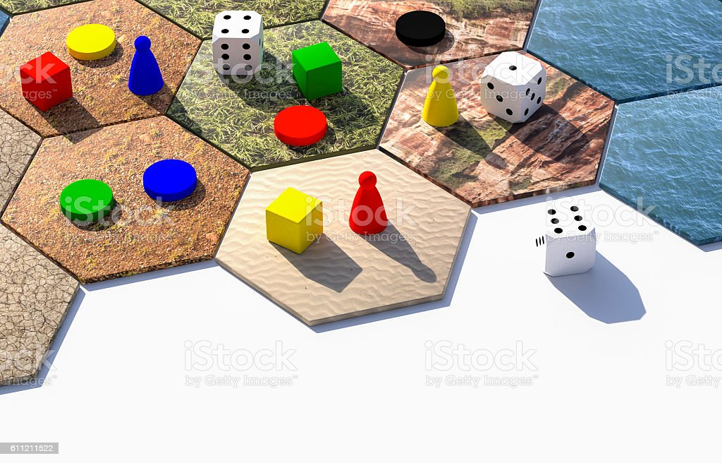 hexagonal board game 3d illustration stock photo