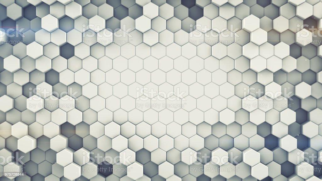 Sechseckigen Zellen Wand abstrakte 3D-Rendering - Lizenzfrei Abstrakt Stock-Foto