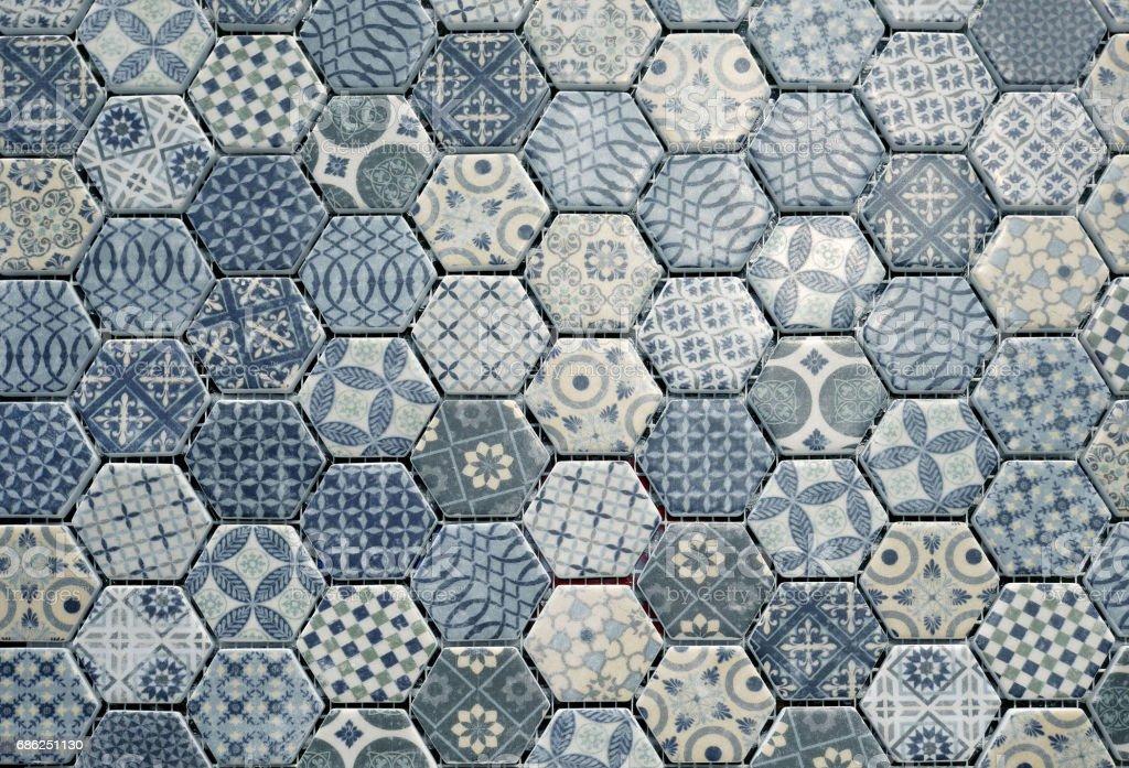 Hexagonal ceramic tiles. stock photo
