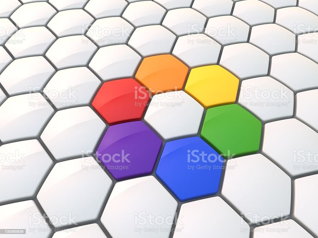 Hexagonal color wheel royalty-free stock photo