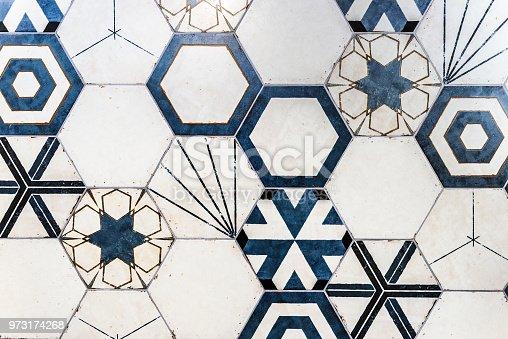 istock Hexagonal colorful modern bathroom, toilette or kitchen ceramic tiles wall. 973174268