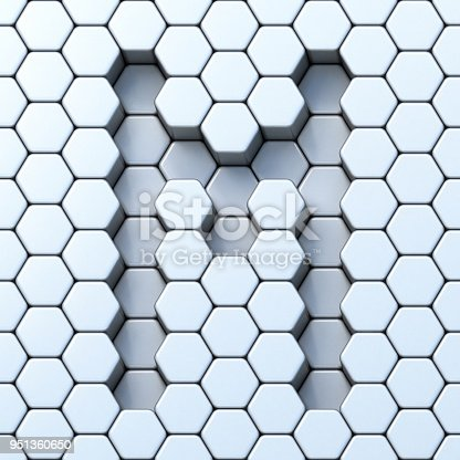 844515966 istock photo Hexagonal grid letter M 3D 951360650
