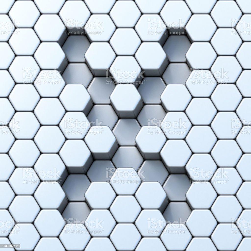 Hexagonal Grid Letter X 3d Stock Photo - Download Image Now