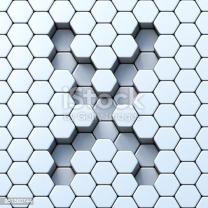istock Hexagonal grid letter X 3D 951360744