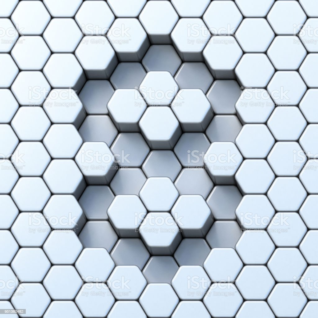 Hexagonal grid number EIGHT 8 3D stock photo