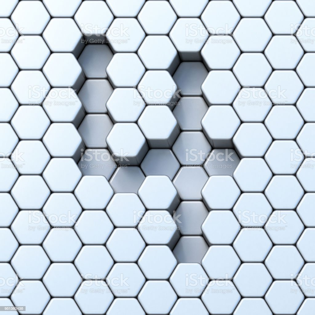 Hexagonal grid number FOUR 4 3D stock photo