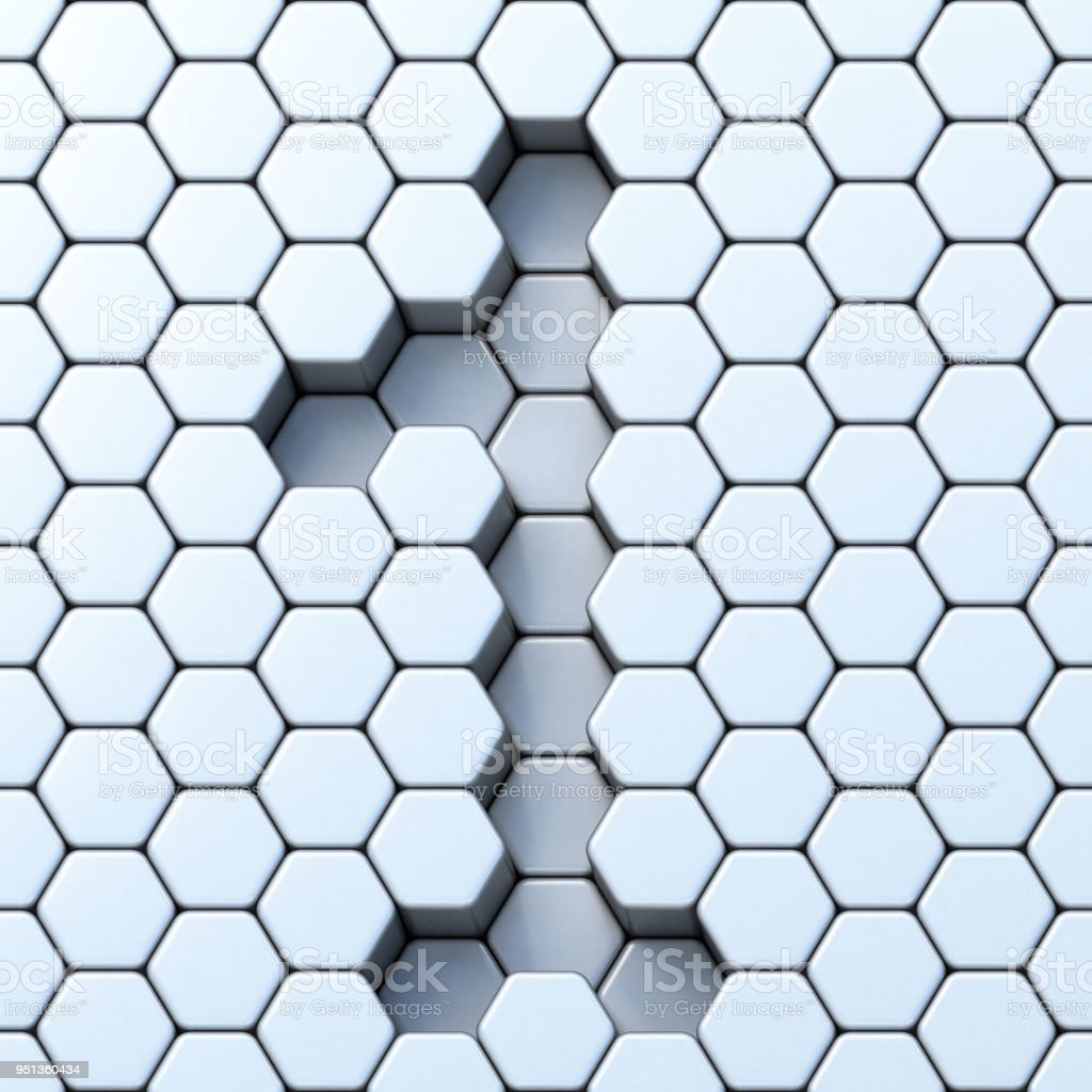 Hexagonal grid number ONE 1 3D stock photo