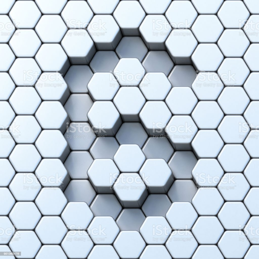 Hexagonal grid number SIX 6 3D stock photo