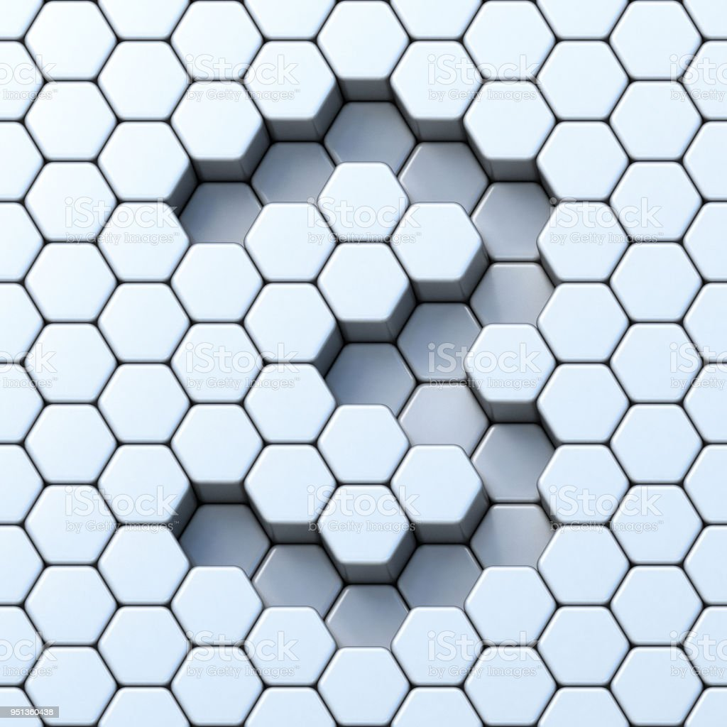 Hexagonal grid number THREE 3 3D stock photo