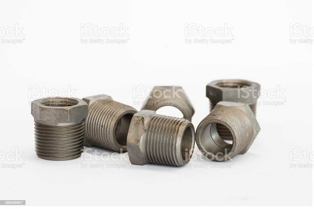 Hexagonal head bushing bolts on white isolate background stock photo