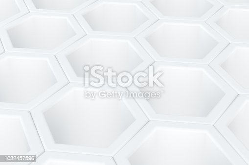 istock Hexagonal, Honeycomb Abstract 3D Background 1032457596
