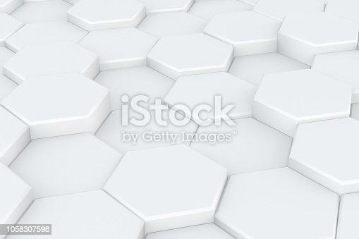 istock Hexagonal, Honeycomb Abstract 3D Background 1058307598
