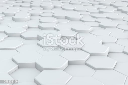 istock Hexagonal, Honeycomb Abstract 3D Background 1058378156