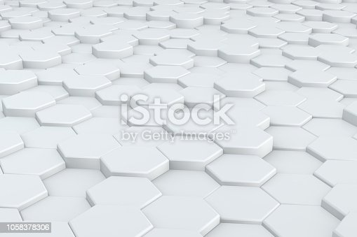 istock Hexagonal, Honeycomb Abstract 3D Background 1058378306