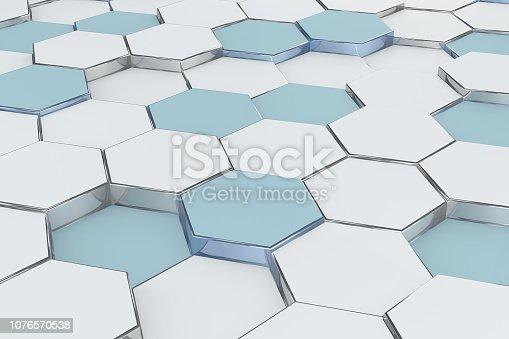 istock Hexagonal, Honeycomb Abstract 3D Background 1076570538