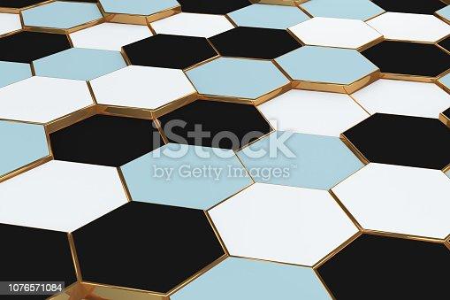istock Hexagonal, Honeycomb Abstract 3D Background 1076571084