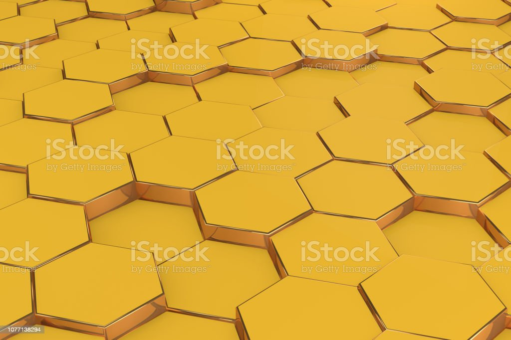Hexagonal, Honeycomb Abstract 3D Background royalty-free stock photo