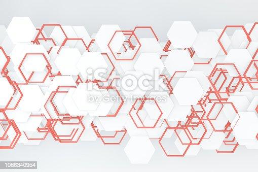 istock Hexagonal, Honeycomb Abstract 3D Background 1086340954